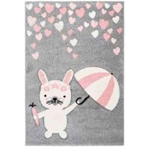 alfombra conejo paraguas gris