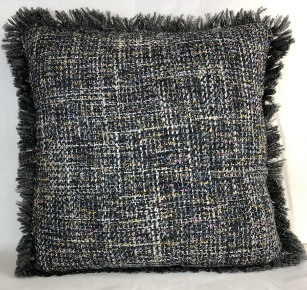 Cojín flecos gris